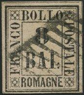ROMAGNA 8 O, 1859, 8 Baj. Schwarz Auf Rosa, Pracht, Gepr. U.a. E. Diena Und Drahn, Mi. 2000.- - Romagna