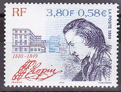 Timbre-poste Gommé Neuf**  150ème Anniversaire De La Mort Du Compositeur Frédéric Chopin - N° 3287 (Yvert) - France 1999 - France