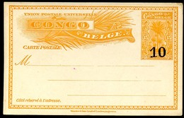 CONGO Postal Card #35 HANDSTAMPED SURCHARGE 10 On 15 Cent. Mint 1910 - Ganzsachen