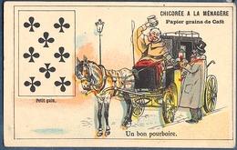 Chromo Duroyon & Et Ramette Litho Courbe Rouzet Carte à Jouer 8 Huit De Trèfle Petit Gain Cocher Un Bon Pourboire - Duroyon & Ramette