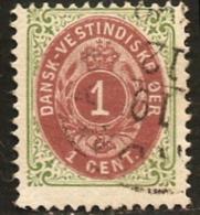 Dansk Vestindisk 1c. 1896 Mi 16 II Inverted Frame, Rahmen Kopfstehend, Danish West Indies, Westindien