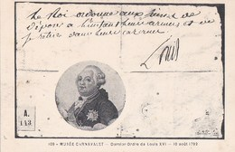 PARIS 3°  Rue Des FRANCS BOURGEOIS MUSEE CARNAVALET CPA Dessin  LOUIS XVI ROI De FRANCE Dernier Ordre 1792 - Arrondissement: 03