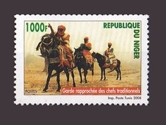 NIGER 2008 YT 1676 GARDE RAPPROCHEE DES CHEFS TRADITIONNELS TOUAREG HORSES KNIGHT CAVALIER CHEVAL KNIGHTS MNH (RARE) - Niger (1960-...)