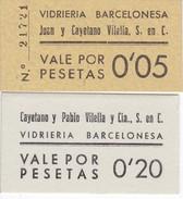LOTE DE 2 VALES DE VIDRIERIA BARCELONESA DE 5 Y 20 CENTIMOS NUEVOS SIN CIRCULAR - [ 3] 1936-1975 : Régence De Franco