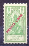 ETABLISSEMENT FRANCAIS DANS L'INDE - 1941 - N° 135 - 6 Ca.vert Foncé Et Vert - (Surchargé : FRANCE LIBRE) - India (1892-1954)