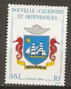 NOUVELLE  CALEDONIE     -     1984 .   Y&T N° 486 **.    Armoiries De Nouméa   /  Bateau  /  Hyppocampes - New Caledonia