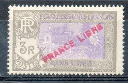 ETABLISSEMENT FRANCAIS DANS L'INDE - 1941 - N° 149 - 3 R. Gris Et Violet - (Surchargé : FRANCE LIBRE) - India (1892-1954)