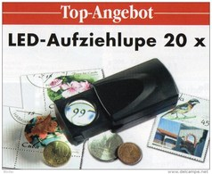 20xLupe Vergrößerung LED Licht-Aufziehlupe Neu 10€ Prüfen Von Briefmarken Münzen Paper Money LEUCHTTURM Offer Black - Zubehör