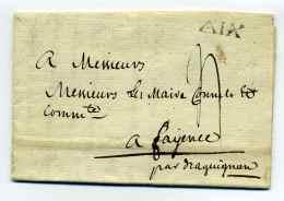 MP AIX  Lenain N°12 / Dept 12 BOUCHE DU RHONE /  Ecrite D'AIX  / 1788 - 1701-1800: Precursores XVIII