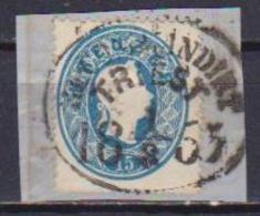 AUSTRIA  1860-61  EFFIGE DI FRANCESCO GIUSEPPE I A DESTRA UNIF. 21 USATO SU FRAMMENTO VF - 1850-1918 Impero