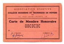 CARTE ASSOCIATION SPORTIVE DU COLLEGE MODERNE ET TECHNIQUE DE NEVERS   Carte De Membre Honoraire - Historical Documents