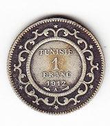 TUNISIE  KM  238, 1Fr, SILVER,1912 .   (TUN 1052) - Tunisie