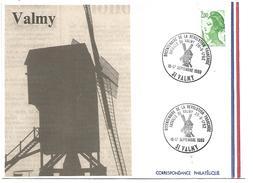 OBLITERATION COMMEMORATIVE BICENTENAIRE REVOLUTION - BATAILLE DE VALMY MOULIN 1989 - French Revolution