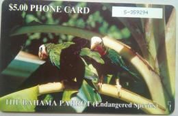 Bahamas Phonecard, $5 Chipcard, Parrot - Bahamas