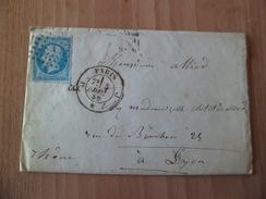 Pli De Paris J Le 3 Décembre  1859 Pour Lyon Le 5 Décembre 1859 Ligne Paris à Lyon Le 4 Décembre Le  N°14A  B/TB - Poststempel (Briefe)