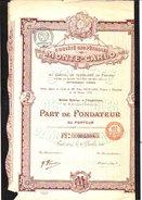Action : Société Des Pétroles De Monté-Carlo: Part De Fondateur Au Porteur  1919. 29 Coupons.Notaire à Tourcoing - Pétrole