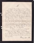JUDAICA Paris Caroline WORMS Veuve Auguste BREAL 1804-1876 SELIGMANN-LUI BLOCH FRANCHETTI Lettre Mortuaire - Décès