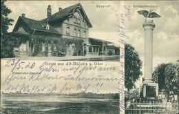 AK Alt-Rüdnitz Stara Rudnica, Bahnhof, Eisenbahn-Brücke, Kriegerdenkmal, O Um 1910 (6181) - Polen