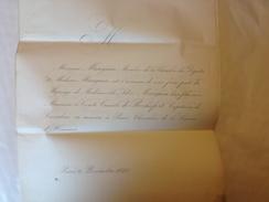 Faire Part Mariage, 1840, Mle Mauguin Fille Du Député Et Le Comte Camille De Rochefort - Boda