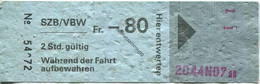 Schweiz - SZB / VBWSolothurn-Zollikofen-Bern-Bahn - Vereinigte Bern-Worb-Bahnen - Fahrschein - Bahn