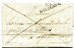 Griffe Linéaire 32 Bordeaux (Tapie N° 39).du 6/4/1814 Sur Lettre Entière En Franchise Frauduleuse Pour Agen - Marcophilie (Lettres)