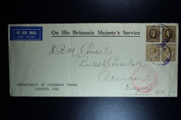 GB Airmail Cover 1937 On His Britannic Majesty's Service London-> Paraquay 2 Strips SG 395 + 396 Lufthansa - 1902-1951 (Kings)