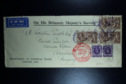 GB Airmail Cover 1937 On His Britannic Majesty's Service London-> Paraquay 3-strip Sea Horses Lufthansa  RR - 1902-1951 (Kings)
