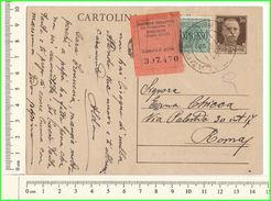 LP016 Regno 1940 Cartolina Postale Per Roma Espresso Cent 30 + L.1,25  Recapito Agenzia - 1900-44 Vittorio Emanuele III