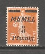 Memel 1922, 5pf On 5c, Sc 50,VF MNG - Memel (1920-1924)