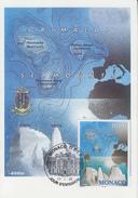 Carte  Maximum   1er   Jour    MONACO     Monts    Sous - Marins    1998 - Géologie