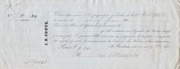 Reçu 21885 De 1850 J B COUVE Courtier D'assurances La Gironde Bordeaux Verso Noms Et Destinations Navires Assurés - Transporte
