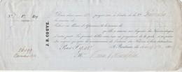 Reçu 26099 De 1850 J B COUVE Courtier D'assurances Générales Bordeaux Verso Noms Et Destinations Navires Assurés - Transporte