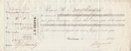 Reçu 26327 De 1850 J B COUVE Courtier D'assurances Générales Bordeaux Verso Noms Et Destinations Navires Assurés - Transporte