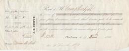 Reçu 19242 De 1850 J B COUVE Courtier D'assurances Union Dse Ports Bordeaux Verso Noms Et Destinations Navires Assurés - Transporte