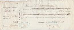 Reçu 5334 De 1850 J B COUVE Courtier D'assurances Aquitaine Bordeaux Verso Noms Et Destinations Navires Assurés - Banco & Caja De Ahorros
