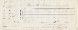 Reçu 22159 De 1850 J B COUVE Courtier D'assurances La Gironde Bordeaux Verso Noms Et Destinations Navires Assurés - Transporte