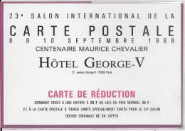 22e Salon International De La CARTE POSTALE  8;9;10; Septembre 1988 HÔTEL GEORGES V - Bourses & Salons De Collections