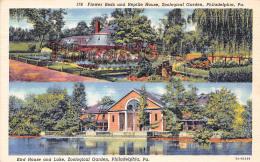 Flower Beds And Reptile House - Bird House And Lake - Zoological Garden - Philadelphia - PA Pennsylvania - Philadelphia