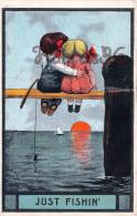 Just Fishin' - Illustration Colorisée Enfants Pêche Kids Children Sunset Fishing USA US - Etats-Unis
