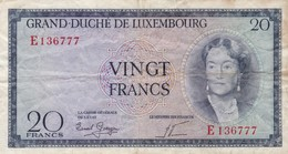 LUXEMBOURG 20 Francs VG-F ND (1955) P-49a - Luxemburgo