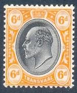 Transvaal 1905. 6d Black And Orange (wmk MCA). SACC 272*, SG 266*. - Südafrika (...-1961)