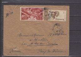 Madagascar - PA N° 65 Et Poste N° 306 Obli/sur Lettre Voyagée Par Avion Pour La France - 1948 - Lettres & Documents
