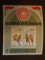 Maldiven Maldives 1972 Jeux Olympiques De Munich Course à Pied Et De Haies Yv Bloc 13 MNH ** - Maldiven (1965-...)