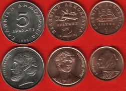 Greece Set Of 3 Coins: 1 - 5 Drachmes 1990-98 UNC - Greece