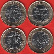 "Brazil Set Of 4 Coins (4th; #4): 1 Real 2016 ""Rio Olympics 2016"" BiM. UNC - Brésil"