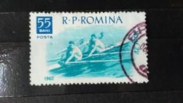 RARE CAYAK ROMINA 1962 ROMANIA 55 BANI USED STAMP TIMBRE - 1948-.... Republics