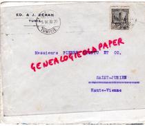 TUNISIE- ENVELOPPE ED. & J. ZERAH A TUNIS -1930 A PIERRE POINTU MEGISSERIE SAINT JUNIEN- GANTERIE - Factures & Documents Commerciaux