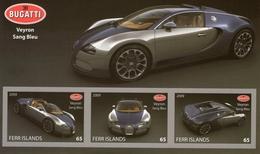 Bugatti Veyron 'Sang Bleu'  - 3v MS  Sheet/Feuillet - Unofficial Issue - Automobilismo