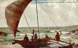 Outrigger Fishing Canoe With Full Sails Colombo CEYLON SRI LANKA - Sri Lanka (Ceilán)
