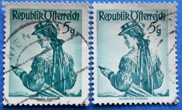 AUSTRIA 2 X 5 Gr. 1949 Mic.894 NATIONAL COSTUMES SALZBURG (DIFFERENT COLOURS) - USED - 1945-60 Oblitérés